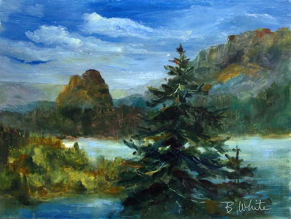 An original Beacon Rock 9x12 oil painting #2012304, in the Columbia River Gorge, by Bonnie White