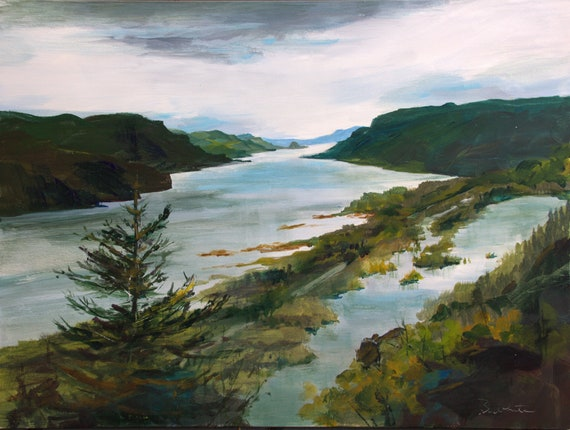 Columbia Gorge from Vista House acrylic painting by Bonnie White