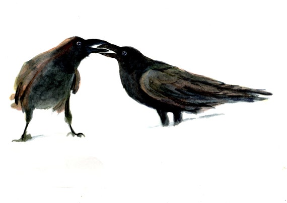 ravens print, ravens in snow 3 by bonnie white