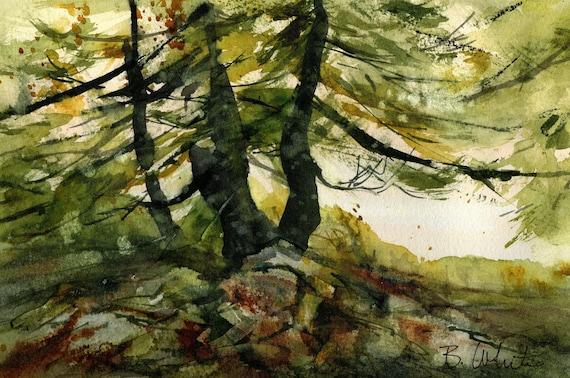 Original watercolor of three trees, 6.5 x 10.5