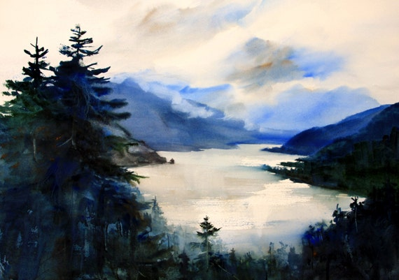 Columbia Gorge 319 - signed print - watercolor print - Columbia Gorge - Bonnie White - watercolor artist