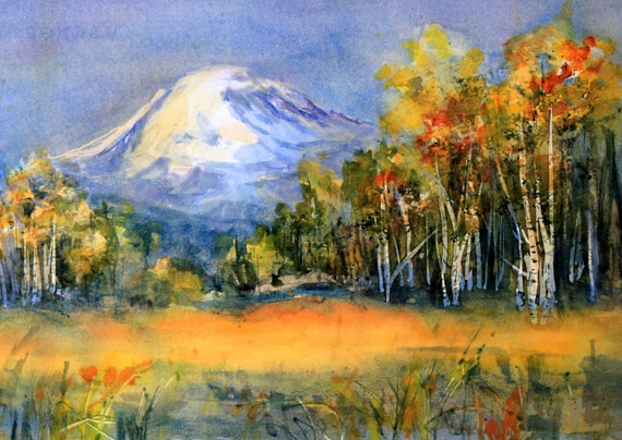 Mt. Adams 85 a print of Mt. Adams from a watercolor by Bonnie White