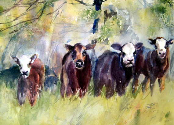 cow, calves watercolor print