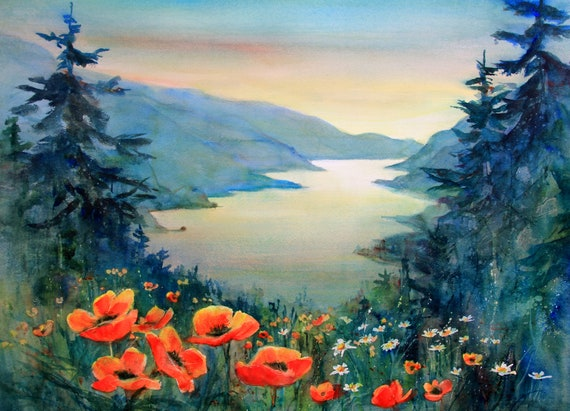 Columbia Gorge 385 - signed watercolor print - Bonnie White - Columbia Gorge - National Scenic Area - watercolor paintings