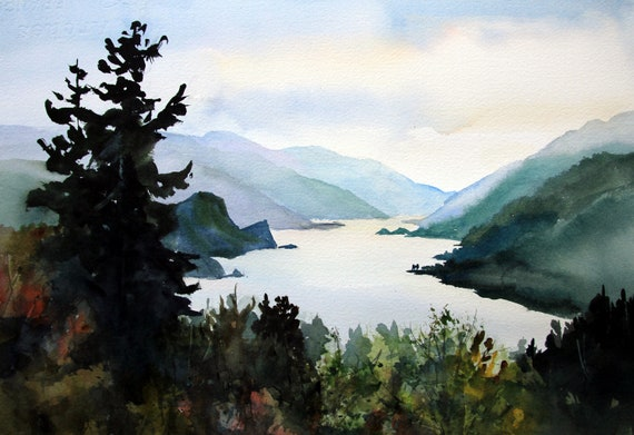 Columbia Gorge from Hood River a signed landscape print by Bonnie White Columbia Gorge 399