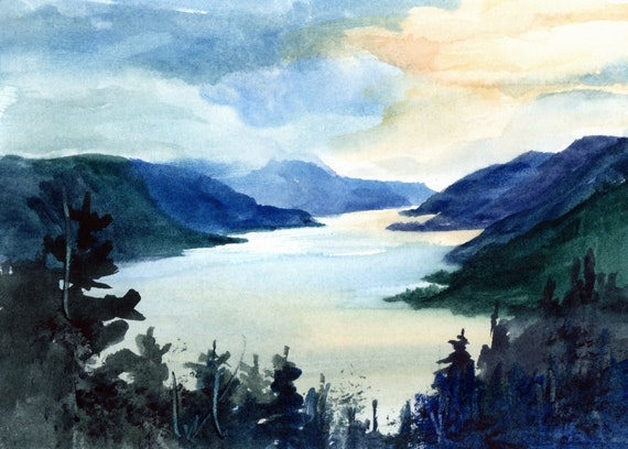 Columbia Gorge original watercolor painting 5x7 matted to 8x10