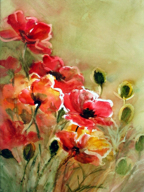 Red poppies art signed print of a watercolor by Bonnie White Poppies 28