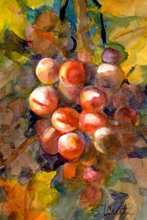 Original watercolor painting, wine grapes by Bonnie White 7x10 matted to 11x14