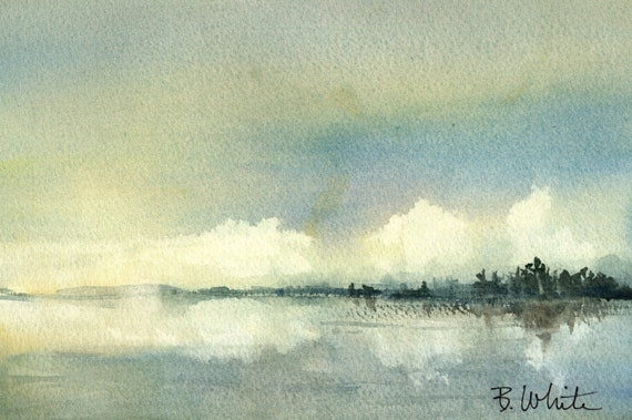 Wetland with Clouds original watercolor by Bonnie White - 6.5 x 10 inches