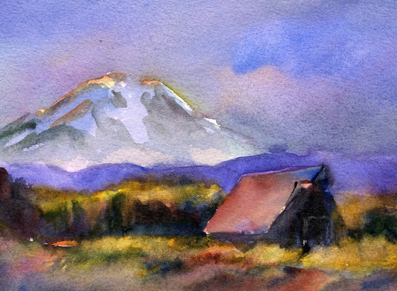 Mt. Adams 54 a print of Mt. Adams from a watercolor by Bonnie White