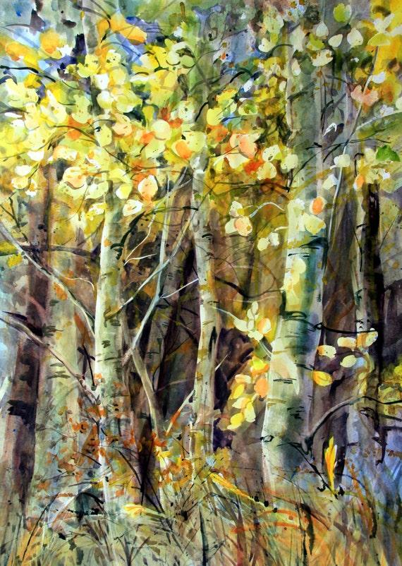 Aspen Grove 12 -- signed print - watercolor - Bonnie White - Aspen Grove - Aspens in Fall - Fall foliage - art - artwork