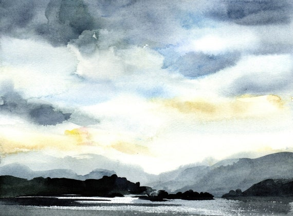 Columbia River original watercolor painting by Bonnie White Looking west from the Hood River bridge