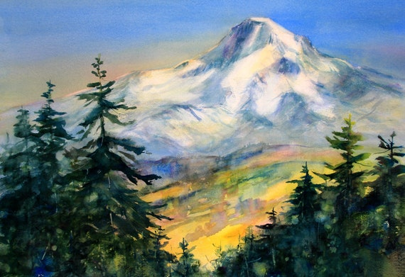 Mt. Hood 284 - signed watercolor print - Bonnie White - Mt. Hood - Columbia Gorge - National Scenic Area - watercolor paintings