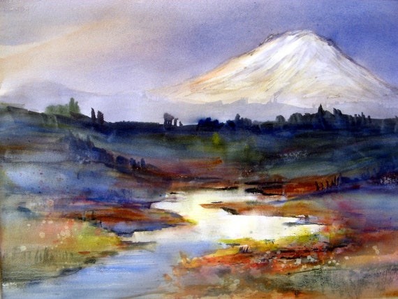 Mt. Adams 75 - a signed print of Mt. Adams from a Bonnie White watercolor