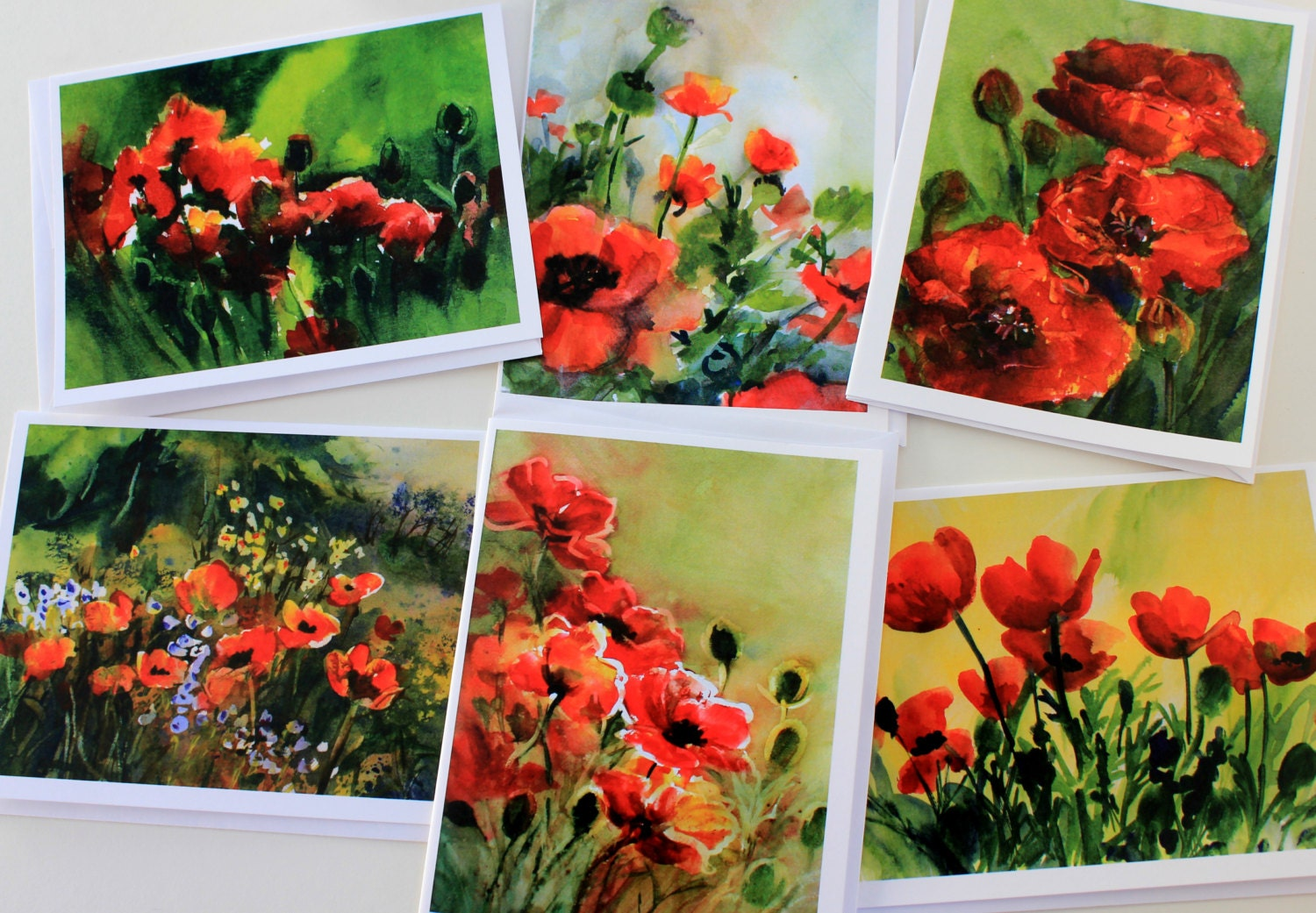 Poppies note cards blank