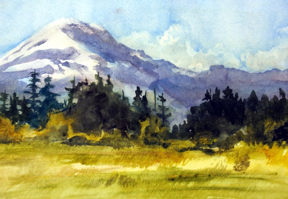 Mt. Adams 93 a print of Mt. Adams from a watercolor by Bonnie White