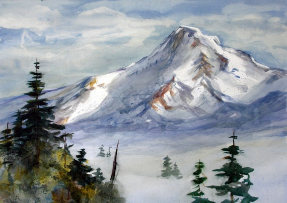 Mt. Hood 310 - prints in various sizes and options of a watercolor painting of Mt. Hood