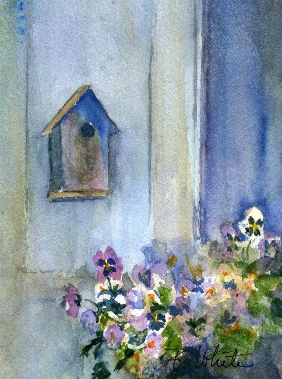 Purple Pansies birdhouse original watercolor painting