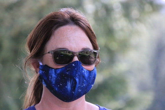 cotton face mask, reusable, washable with filter slot,  double layered ready to ship and made in the USA