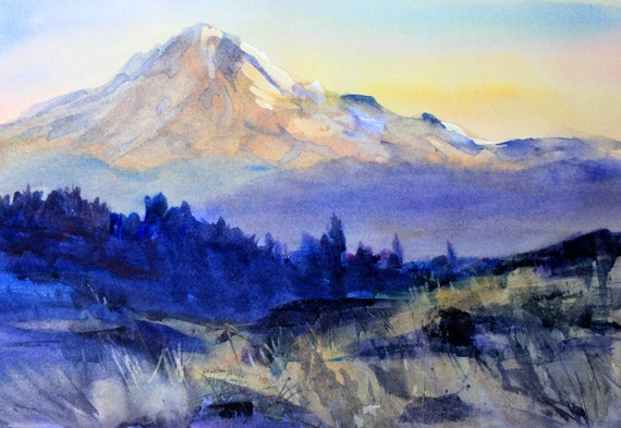 Mt. Hood 285 - signed Mt. Hood watercolor print by Bonnie White