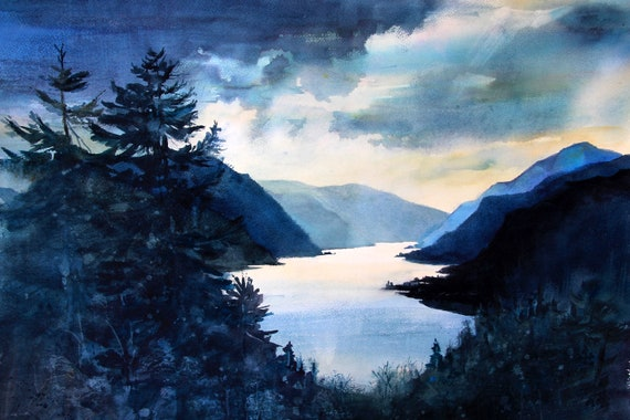 Columbia Gorge 384 - signed Columbia Gorge landscape print from a watercolor  by Bonnie White