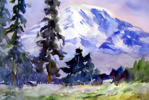 Mt. Adams 49 a signed print of a watercolor by bonnie white