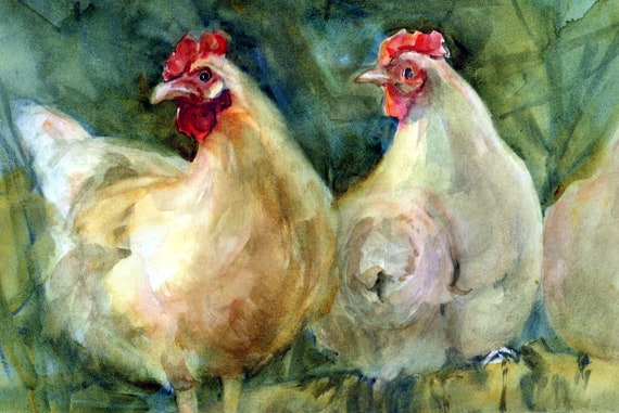 chicken print of a watercolor painting by Bonnie White named Hens