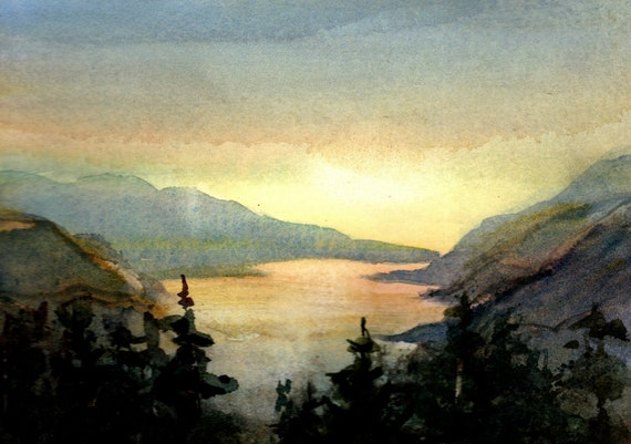Columbia Gorge 408 original watercolor - 5x7 matted to 8x10