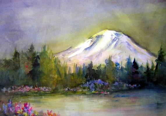Mt. Adams 2 a print of a watercolor by bonnie white