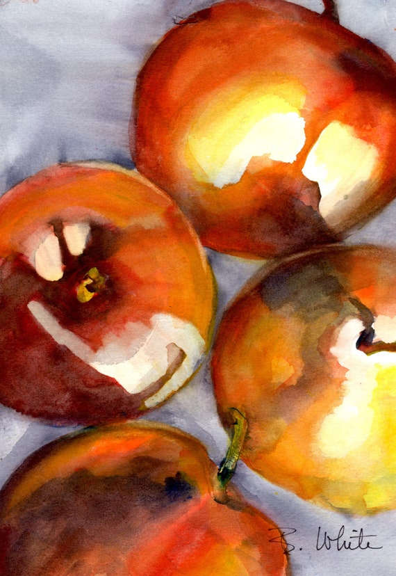 Three apples and a pear original watercolor painting by Bonnie White 7x10 matted to 11x14