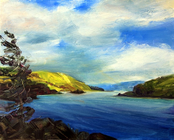 Chicken Charlie Island near Mosier, Oregon in the Columbia River Gorge  8x10 oil painting  by Bonnie White