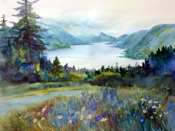 Columbia Gorge 419 print of a watercolor done by Bonnie White of the Columbia Gorge