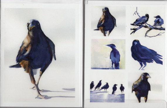 Crows 1 - crow and raven note cards from watercolor paintings of crows and ravens painted by Bonnie White