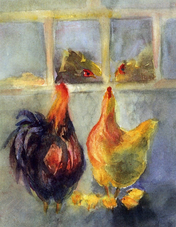 Chicken print called expectations from chicken and rooster watercolors by Bonnie White