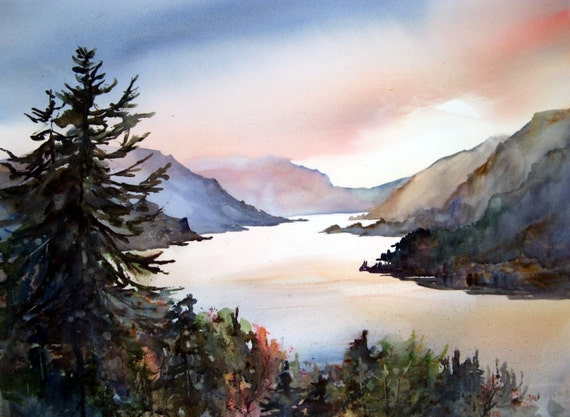 Columbia Gorge 204 - signed watercolor print - Bonnie White - Columbia Gorge