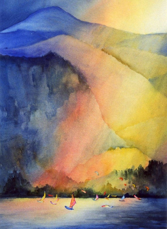 Sailing the Gorge - windsurfing - kiteboarding - signed print - Columbia Gorge - Bonnie White watercolor