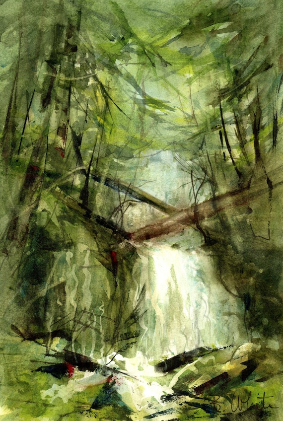 watercolor waterfall original painting by Bonnie White - 6.75 x 10.5 matted to 11x14