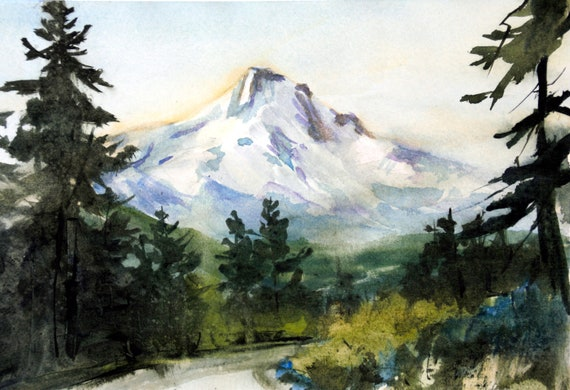 mount hood original watercolor painting by Bonnie White Mt. Hood 293