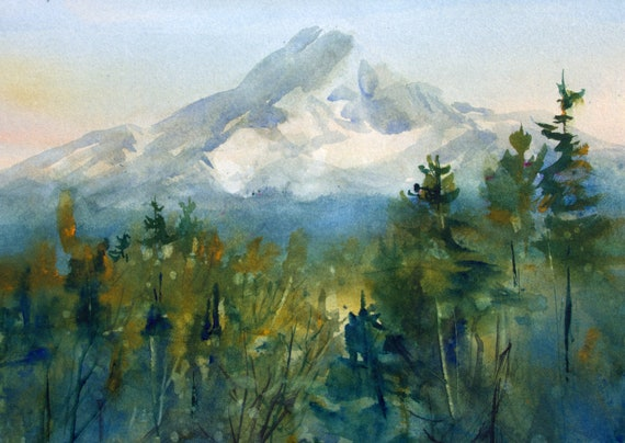 original Mt. Hood watercolor painting by Bonnie White -- 8 x 11 inches