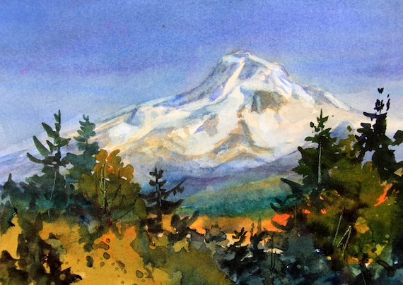 original watercolor of Mt. Hood 304 5x7 matted to 8x10