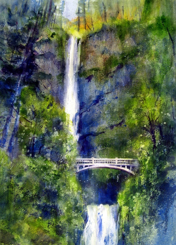 Multnomah Falls 3 - signed watercolor print - Bonnie White - Columbia Gorge - National Scenic Area - Columbia River - watercolor paintings