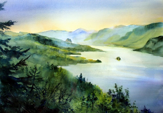 Columbia River Gorge from Crown Point print of a watercolor by Bonnie White Columbia Gorge 289