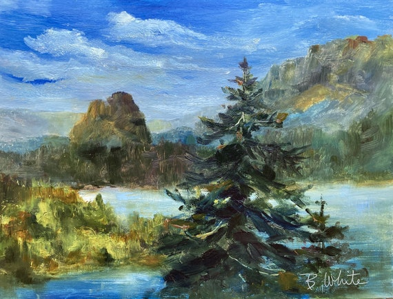 An original 9x12 inch oil painting of Beacon Rock, in the Columbia River Gorge, by Bonnie White