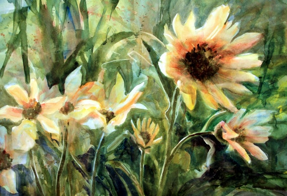Sun and Wind Sunflowers by Bonnie White this is a signed print of a watercolor