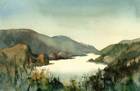 Columbia River Gorge from Hood River showing Mitchell Point original watercolor 6.5 x 10 (should be matted to 11x14)