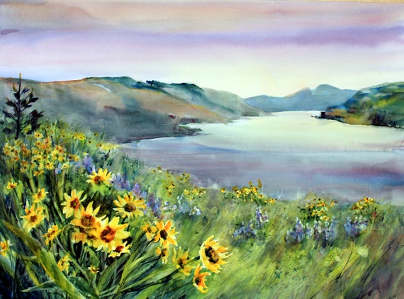 Columbia Gorge 256 -- signed watercolor print - Bonnie White - Columbia River Gorge - National Scenic Area -- watercolor paintings