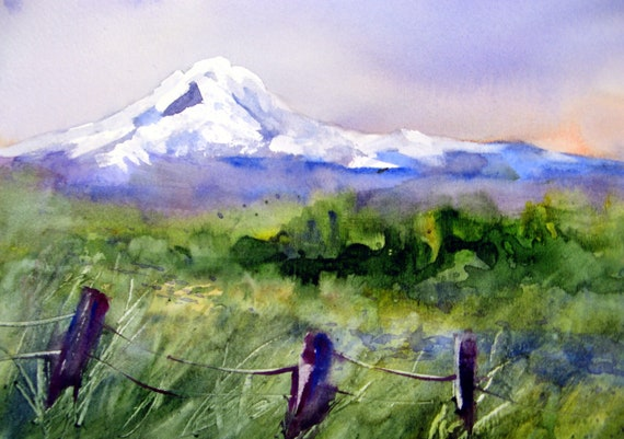 Mt. Adams 50 print of a watercolor by bonnie white