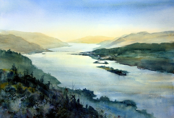 The Hook 2 - signed print - watercolor - Bonnie White - Columbia Gorge - Hood River - National Scenic Area
