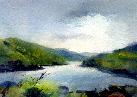 East Gorge #18 - original Bonnie White watercolor painting - Columbia River Gorge from near Murdock/The Dalles