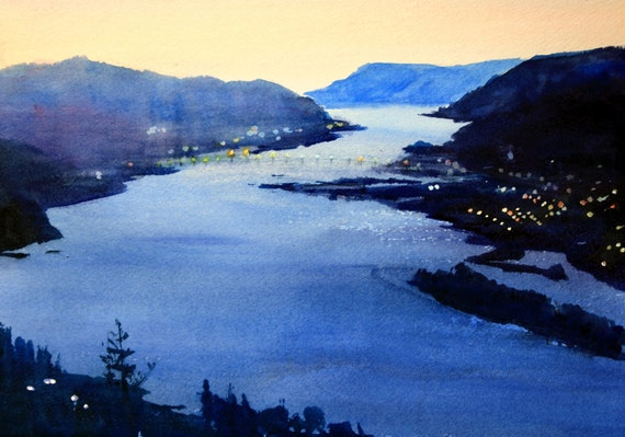 Columbia Gorge 283 - signed watercolor print of the Columbia Gorge, looking down at Hood River by Bonnie White